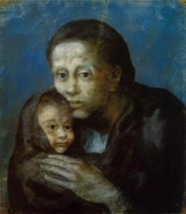 Pablo_Picasso,_1903,_Desemparats_(Maternité,_Mère_et_enfant_au_fichu,_Motherhood),_pastel_on_paper,_47.5_x_41_cm,_Museu_Picasso,_Barcelona